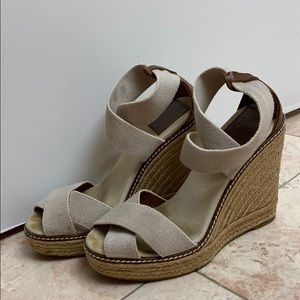 Tory Burch Espadrille Cross Taupe Wedges